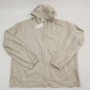 Uniqlo Men's Parka Jacket Beige Full zip XXL